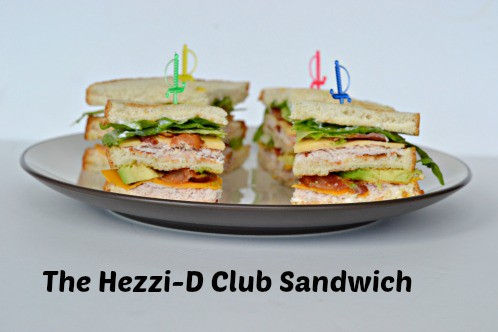 Hezzi-D Club Sandwich with turkey, cheeses, and bacon