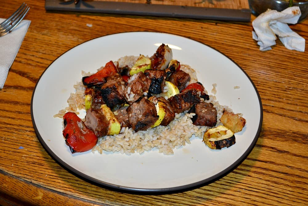 Apple Butter Garlic Beef Kabobs #AppleButterSpin