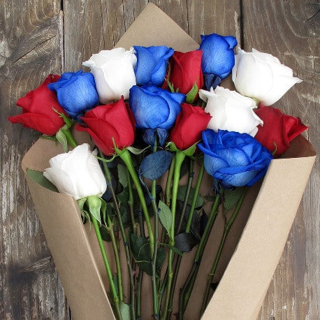 Red, white, and blue roses from The Bouqs:   Fresh cut flowers from the farmer.