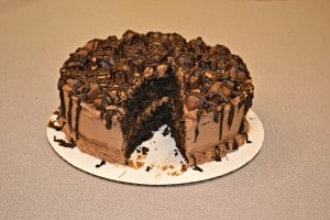 Triple Chocolate Candy Bar Cake with TWIX Bites