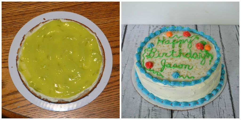 Homemade Lime Curd filling in a vanilla bean cake for my brother's birthday