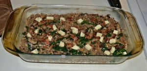 Mushroom and Barley Casserole with Bacon, Gruyere, and Spinach #SundaySupper