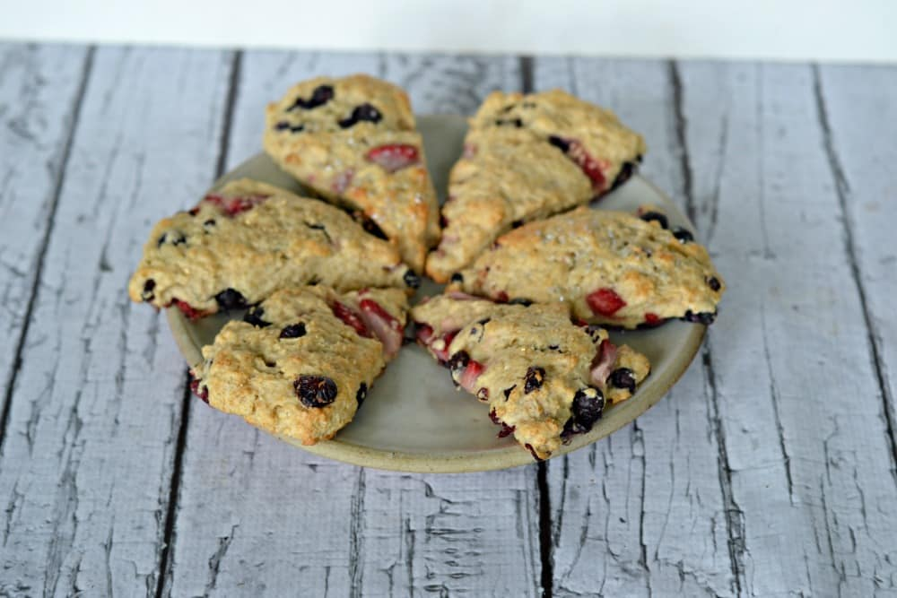 Red, White, and Blue Vegan Scones made with Silk Almondmilk!
