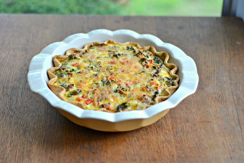 Spicy Italian Sausage, Kale, and Sweet Cheddar Quiche for CSA Tuesdays