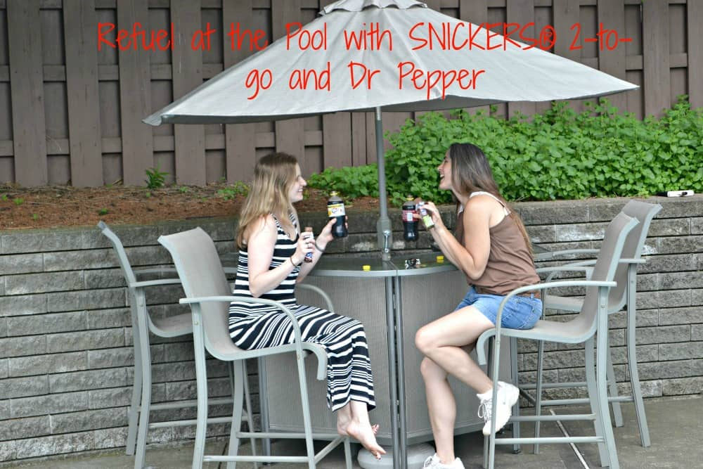 Refuel at the pool with SNICKERS and Dr Pepper