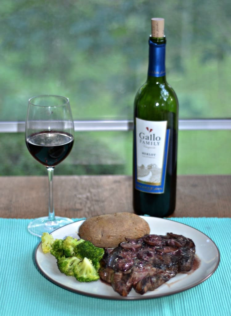 It's grilling season and this Grilled Ribeye Steak with Merlot Mushroom sauce is delicious!