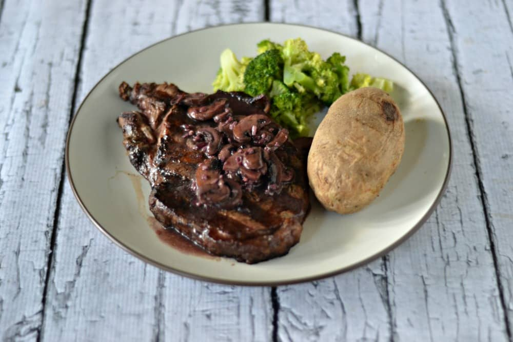 Grilled Ribeye with Merlot Mushroom Sauce | Hezzi-D's Books and Cooks