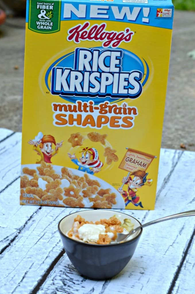 Rice Krispies Multi-grain shapes on top of frozen vanilla yogurt is awesome!