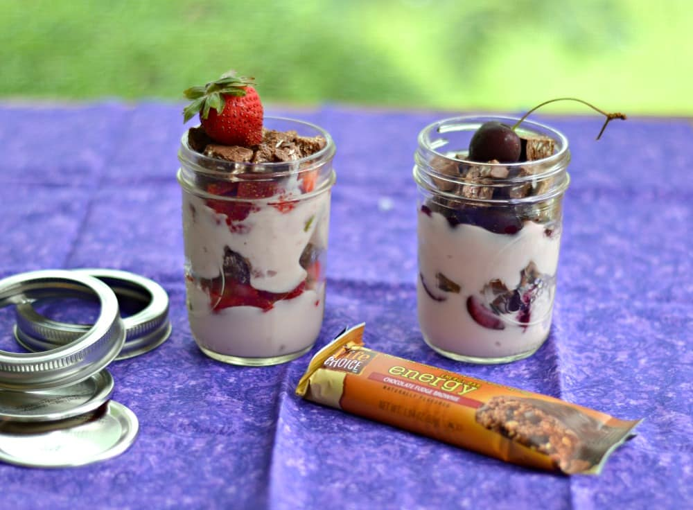 Chocolate Covered Strawberry and Chocolate Covered Cherry Parfaits in jars:   A great grab and go snack!