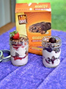 Chocolate Covered Cherry Parfaits in a Jar:  Protein Bar Recipes