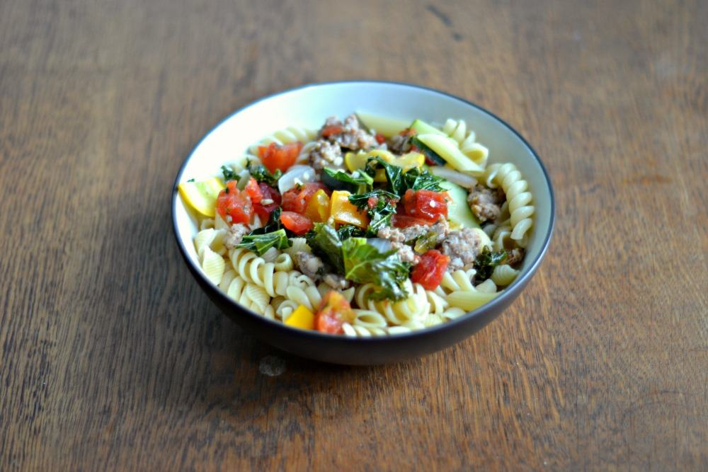 Pasta with Sausage and Summer Vegetables for CSA Tuesday
