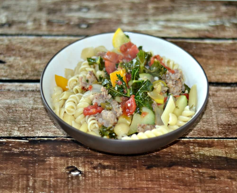 Pasta with Sausage and Summer Vegetables for CSA Tuesdays!