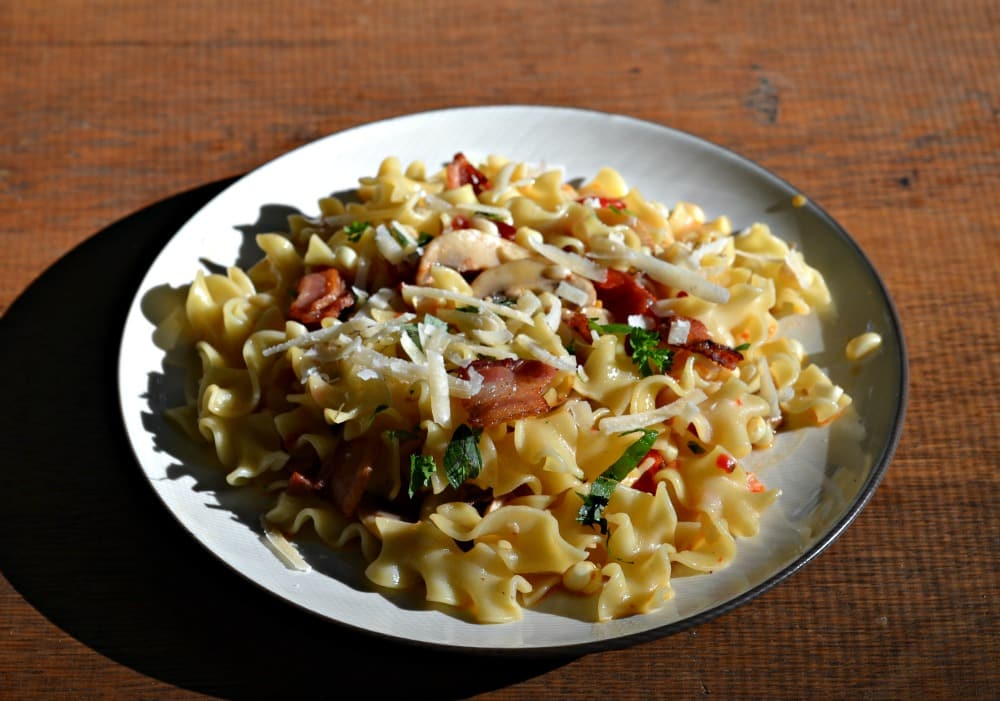 Pasta with Mushrooms, Bacon, and Sweet Corn - Hezzi-D's Books and ...
