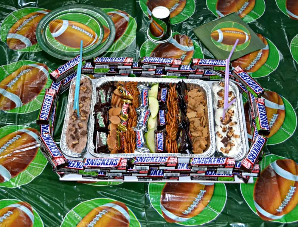 SNICKERS Sweet Snack Stadium with SNICKERS bars, SNICKERS dip, and lots of fun dippers!