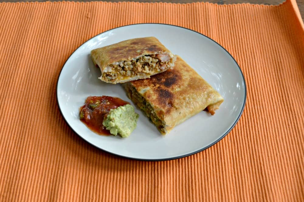 Delicious Vegetarian Chimichangas made with Meyond Meat Beefy Crumbles