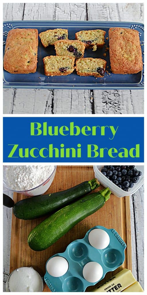 Pin Image:   A platter with a mini loaf of blueberry zucchini bread on each side and slices in the middle, text, a cutting board with a cup of flour, 2 zucchinis, 3 eggs, a container of blueberries, a stick of butter, and a cup of sugar on it.