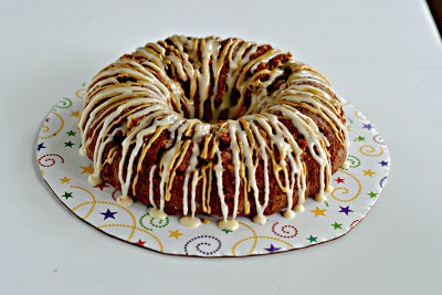 Bundt Cake made with espresso and caramel then drizzled with caramel icing.