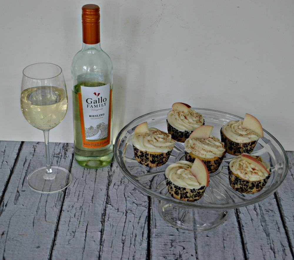 There's nothing like a big glass of Riesling to go along with Grilled Peach Cupcakes with Riesling Frosting and cinnamon sprinkle