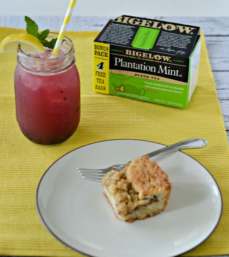 Bigelow plantation mint iced tea with blueberries and lemon