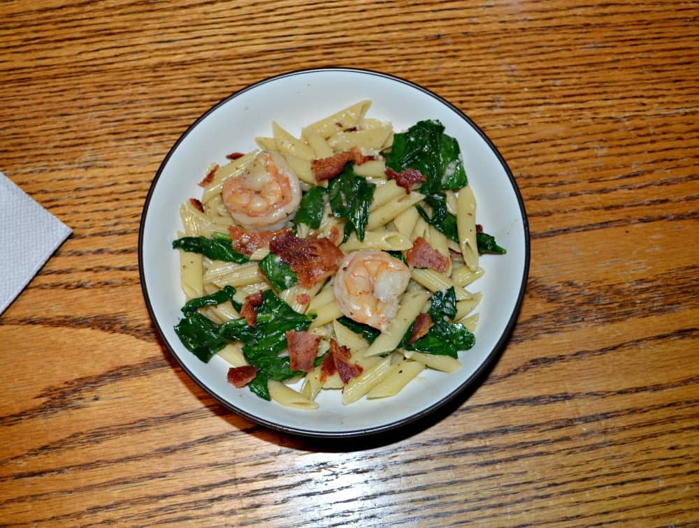 Shrimp and Bacon Pasta is a quick and easy meal.