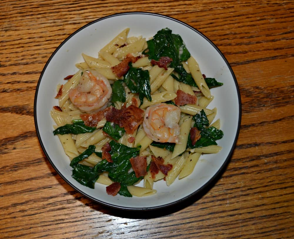 Shrimp and Bacon Pasta with Spinach