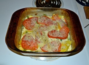 Tomato, Squash, and Bell Pepper Gratin:  CSA Tuesdays