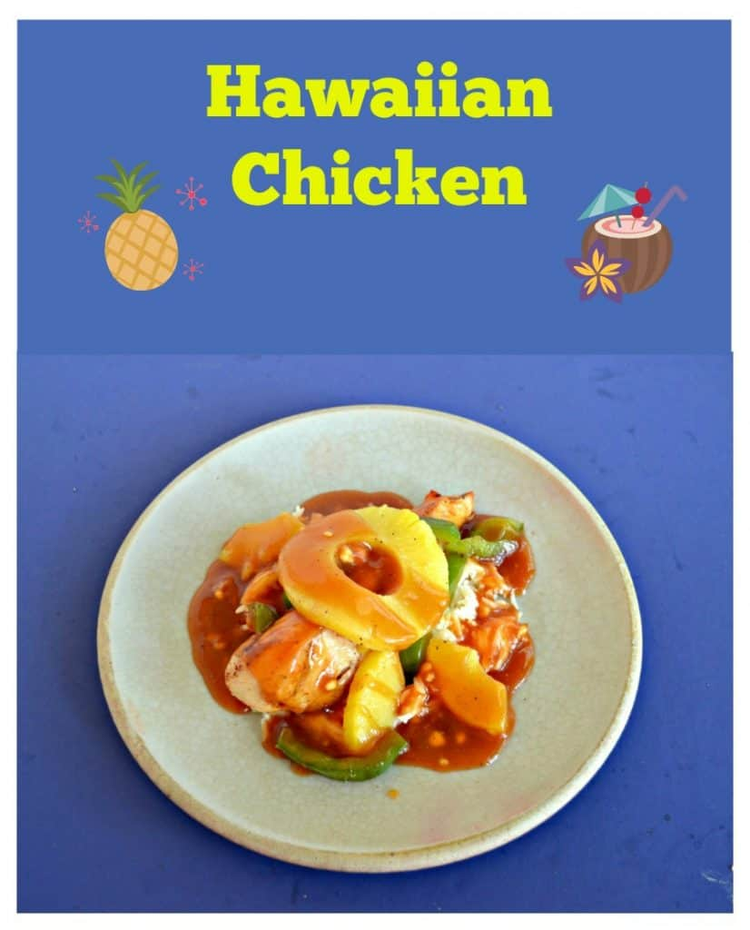 Pin Image: Text overlay with pineapple and a tiki drink, a plate piled with chicken, peppers, and red sweet and sour sauce with a pineapple ring on top on a blue background.