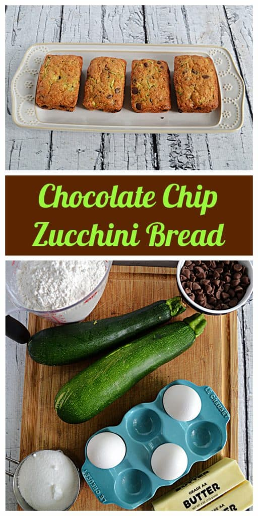 Pin Image: A platter with 4 mini loaves of chocolate chip zucchini bread, text, a cutting board with 2 zucchini, a bowl of chocolate chips, a cup of sugar, a stick of butter, a tray of eggs, and a cup of flour on it.