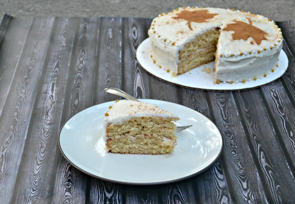 Cinnamon Spice Cake with Caramel Frosting and cinnamon leaf decorations