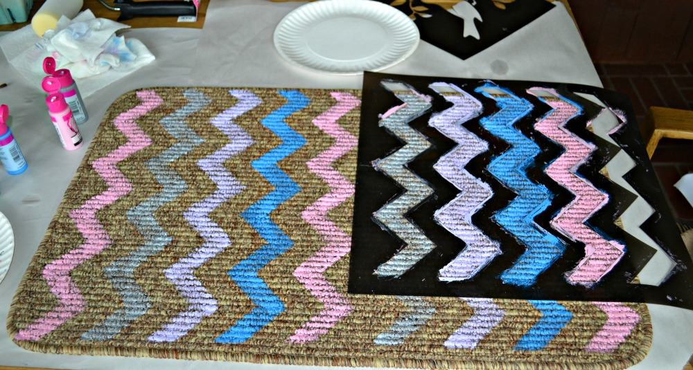 DIY Chevron Kitch Rug using Tulip For Your Home paints and stencils