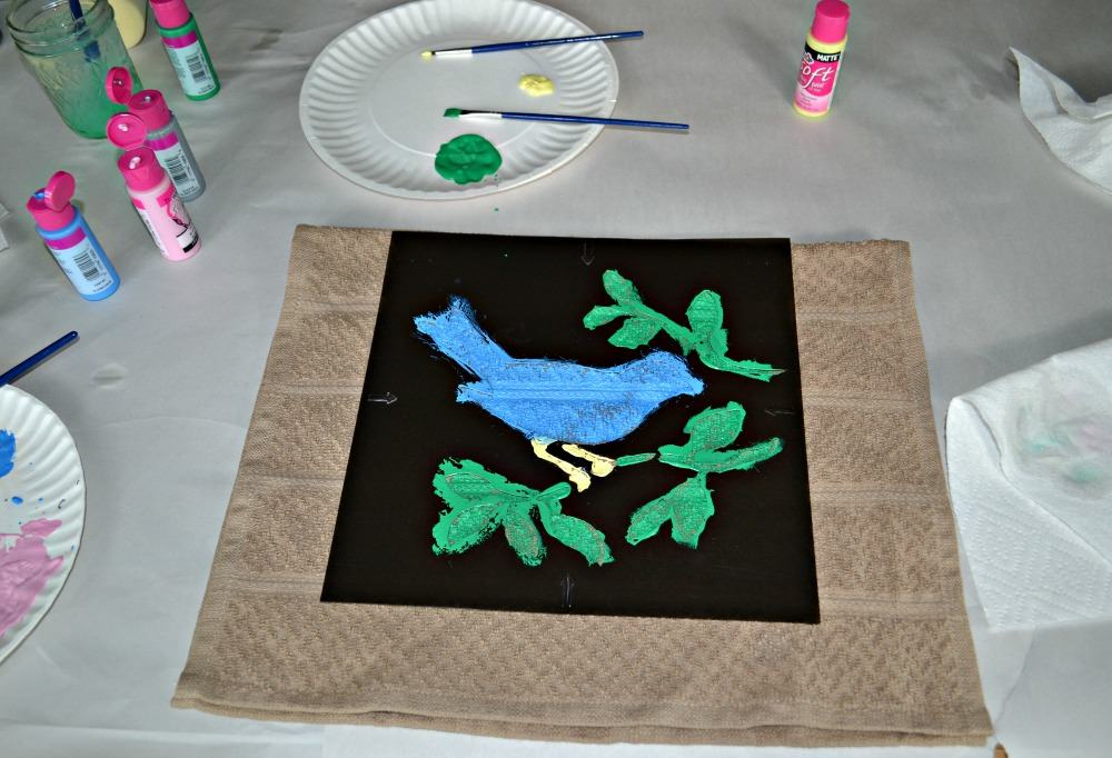 DIY bird motif kitchen towel