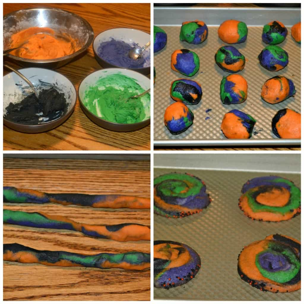 Step by step directions on how to make fun Swirly Halloween Cookies