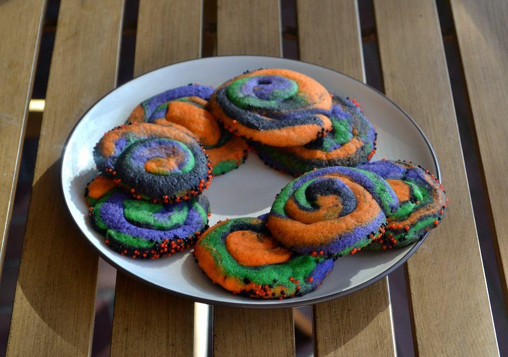 Fun colored Swirly Halloween Cookies
