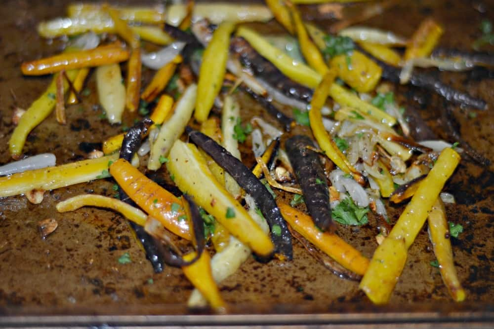 Delicious Tri-Colored ROasted Carrots make a stunning side dish