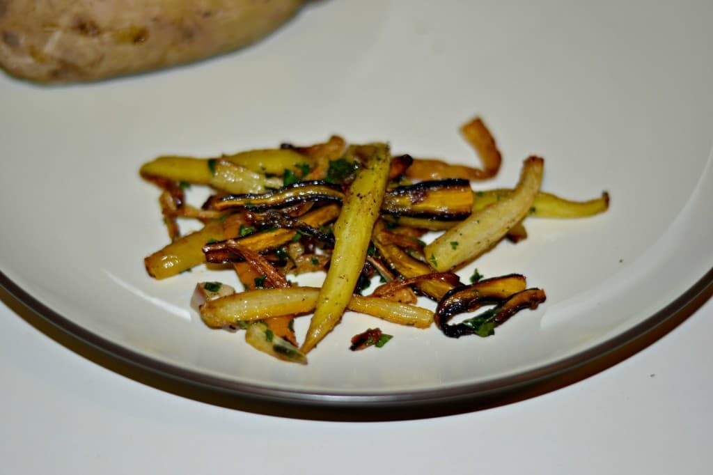 Tri-colored carrots roasted with herbs make a lovely side dish