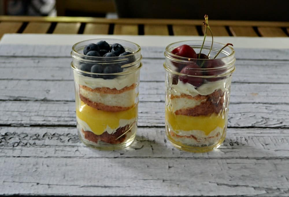 Angel Food Cakes in a Jar with Lemon Curd and Fresh Fruit