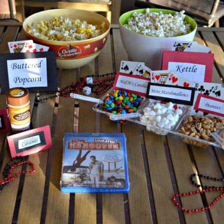 Orville Redenbacher's Popcorn Bar with candies, marshmallow, peanuts, and seasoning salt