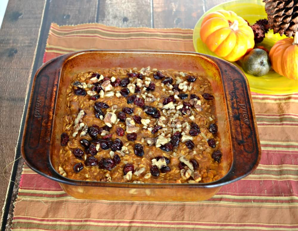 Baked Pumpkin Oatmeal with Craisins and Walnuts