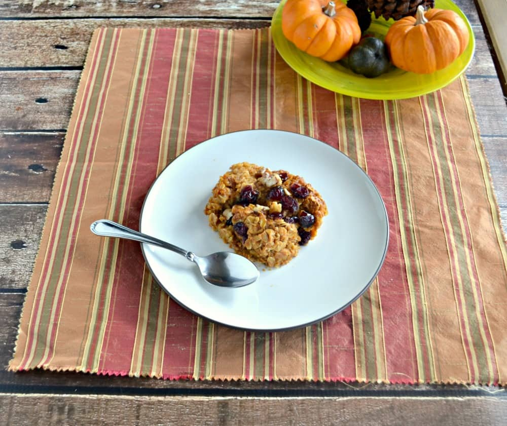 Baked Pumpkin Oatmeal with Craisins and Walnuts is the perfect cold weatherbreakfast.