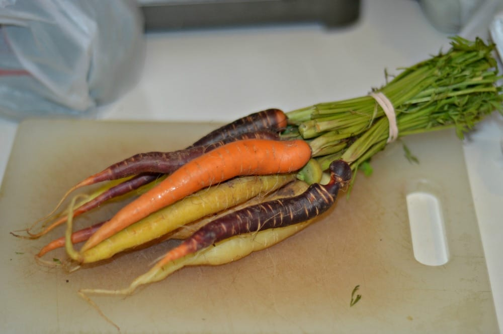 Delicious tri-colored carrots roasted to perfection.