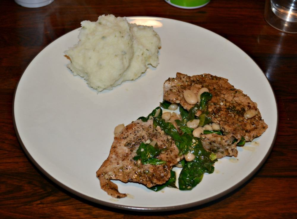 Quick and easy Pork Chops with white beans and spinach