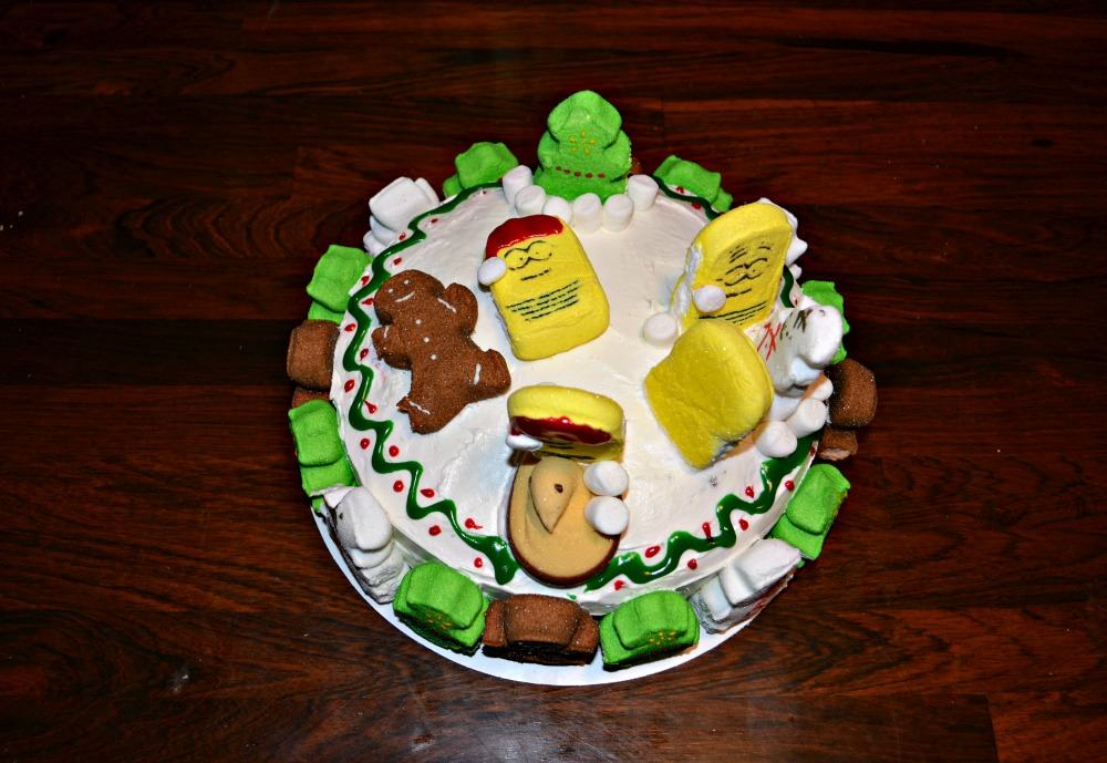 Super Fun PEEPS Christmas Cake with Minion PEEPS