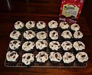 Chocolate Cupcakes with Almond Frosting topped off with Planter's Cocoa Almonds