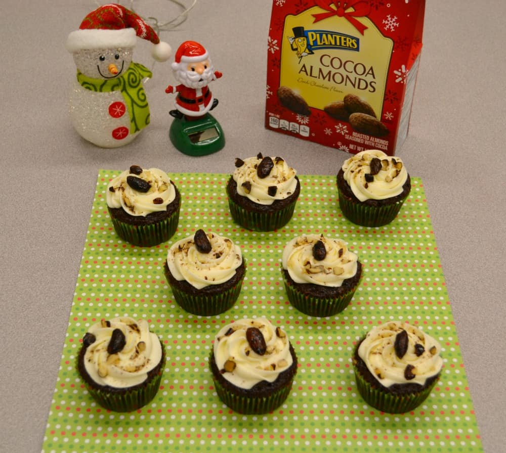 Chocolate Almond Cupcakes are a sweet holiday tr4eat