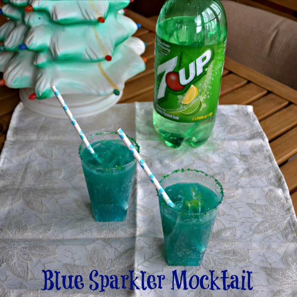Blue Sparkler Mocktail made with 7UP and Orange juice