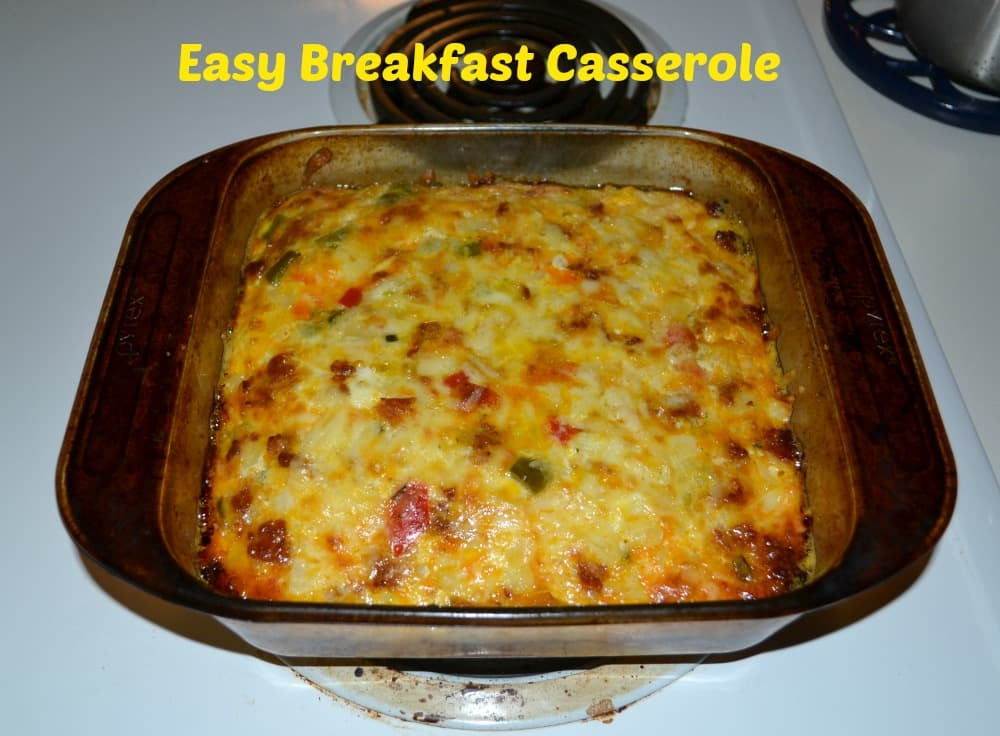 Easy Breakfast Casserole with Hot Sausage, eggs, Kerrygold Skellig Cheese, and vegetables
