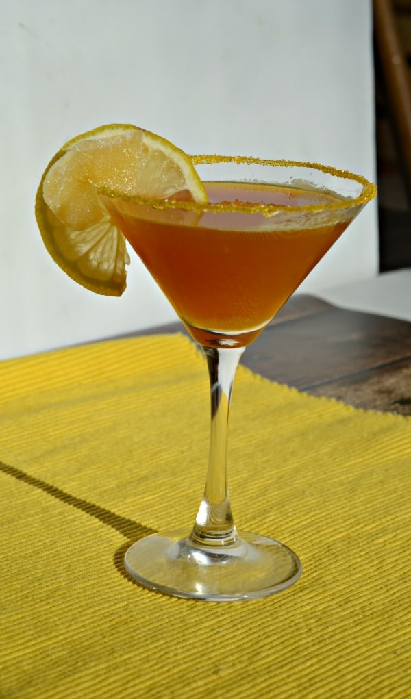 Lemon Ginger Tea Martini has tea steeped lemon vodka, honey, and ginger simple syrup mixed into a delicious martini.