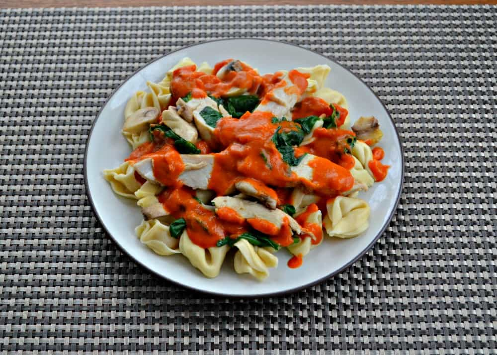 BUITONI tortellini with chicken, mushrooms, and spinach in a light vodka sauce