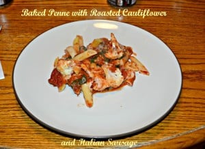 Baked Penne with Roasted Cauliflower and Italian Sausage #SundaySupper