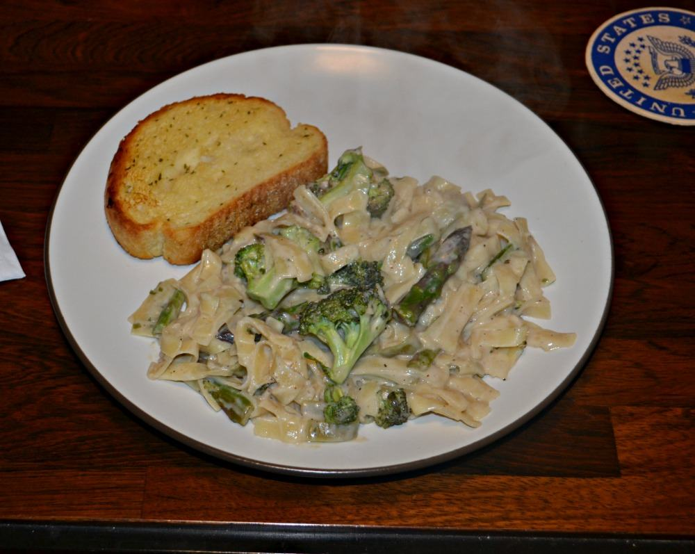 Fettuccine Alfredo with Asparagus and Broccoli